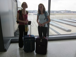 Megan and Rachel at the airport