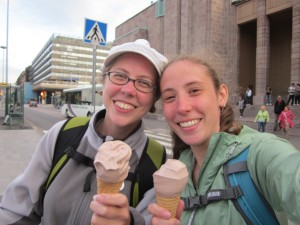 Rach and I enjoy our Finland summer ice cream.
